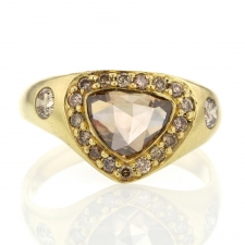 Trillion Champagne Diamond with Diamond Halo Gold Ring Image