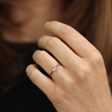 Diamond Ring with Ruby Pave Image