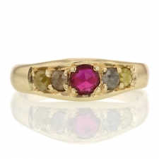 Ruby and Colored Diamond Gold Ring Image