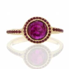 Ruby Gold Ring with Ruby Pave Halo Image