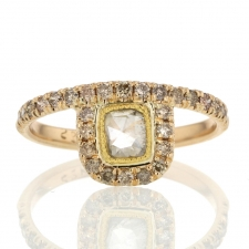 Rose Cut Diamond Ring with Champagne Diamond Pave Image