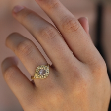 Rose Cut Diamond with Champagne Halo Ring Image