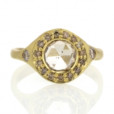 Rose Cut Diamond with Champagne Halo Ring