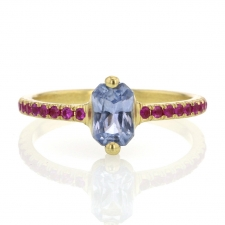 Sapphire Ring with Ruby Pave Image