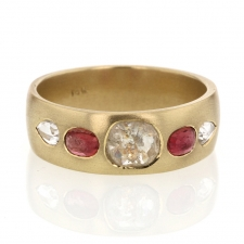 Gold Mixed Diamond and Pink Sapphire Band Ring Image
