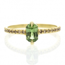 Green Sapphire Ring with Champagne Pave Diamond Shouldered Band Image