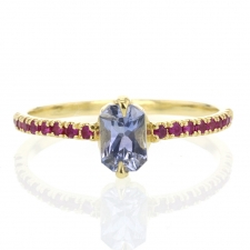 Pale Blue Sapphire Ring with Ruby Pave Image
