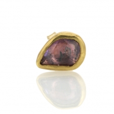 Gold Sapphire Single Stud Earring 2 Image