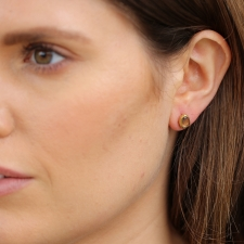 Gold Sapphire Single Stud Earring 5 Image