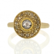 Unique Rose Cut Grey Diamond Halo Gold Ring Image