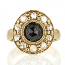 Black Diamond Champagne Diamond Halo Gold Ring Image