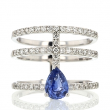 Diamond and Sapphire 18k White Gold Ring Image
