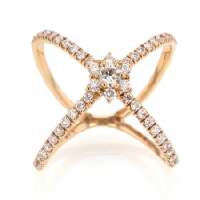 Diamond 18k Rose Gold X Ring Image