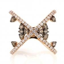 18k Rose Gold Diamond X Ring with Scattered Fancy Diamonds Image