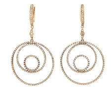 Circle and Diamond 18k Rose Gold Hanging Earrings Image