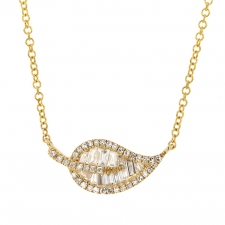 Gold Leaf Diamond Baguette Necklace