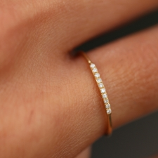 Thin Yellow Gold Diamond Half Band Image