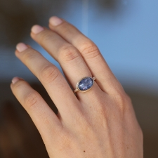 Inverted Faceted Tanzanite Silver and Gold Ring
