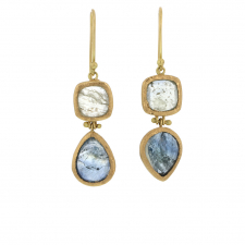 Silver and Blue Sapphire 18k Gold Hinge Drop Earrings Image