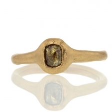 Brown Rectangle Rose Cut Diamond Ring Image