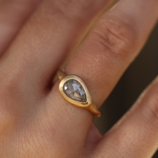 Silver Teardrop Rose Cut Diamond Ring Image