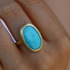 18k Green Gold Turquoise RIng Image