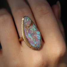 Large Vertical Boulder Opal All Gold Ring on Ruffled Platform Image
