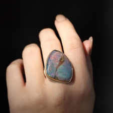 Unique XL Boulder Opal Silver and Gold Ring Image
