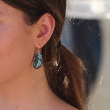Turquoise Earrings in Gold Prongs Image