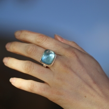 Rectangular Smooth Aquamarine Ring with Diamond Accent Image
