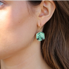 Hexagonal Emerald Slice Earrings Image