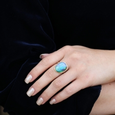 All Gold Boulder Opal Ruffled Platform Ring Image