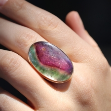 Large Vertical Watermelon Tourmaline Oval Ring Image