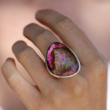 Rose Cut Watermelon Tourmaline Rutilated Ring Image