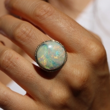 All Gold Round Boulder Opal Ring Image