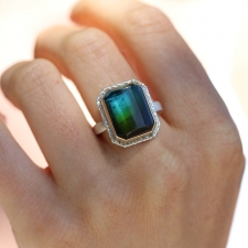 Rectangular Blue Green Tourmaline Ring on Lava Platform Image