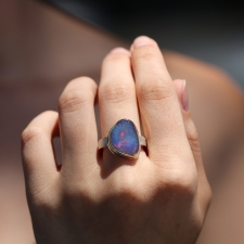 Asymmetrical Mexican Fire Opal  Silver and Gold Ring