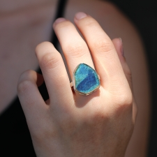 Blue Green Tourmaline Slice Silver and Gold Ring Image