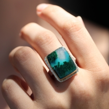 Gem Silica in Quartz and Malachite Ring Image