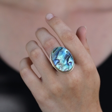 Large Abalone Silver and Gold Ring Image