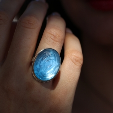 Large Glacier Cut Swiss Blue Topaz Ring Image