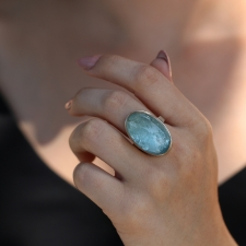 Vertical Large Smooth Aquamarine Silver and Gold Ring Image