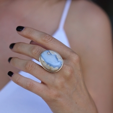 Natural Blue Boulder Chalcedony Ring with Diamond Accent Image