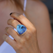 Large Vertical Triangle Boulder Opal Ring Image