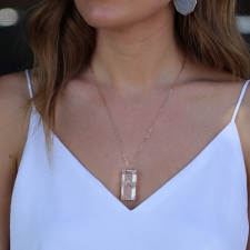 Table Faceted 14k Gold Phantom Quartz Necklace Image