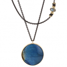 Round Labradorite Silver and Gold Necklace Image