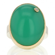 Large Vertical Chrysoprase Statement Ring Image
