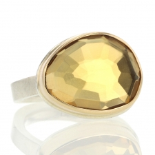 Silver and Gold Faceted Citrine Ring Image