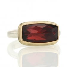 Rectangular Silver and Gold Garnet Ring Image