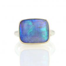 Rectangular Australian Opal Silver and Gold Ring Image